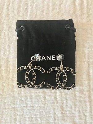 Chanel New Authentic Woven Satin Chain Link CC Pierced Earrings Black Matte Gold