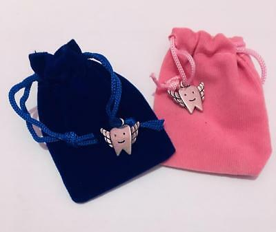 Cute Pink or Blue Tooth Fairy Bags/First Tooth Bags with charm