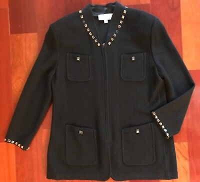Womens St John Collection By Marie Gray Jacket Blazer Size 14 Black Classic Knit