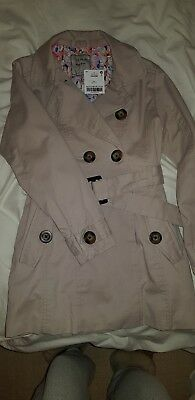 Fabulous BNWT NEXT Girl's Coat Age 7 Years Beige Belt Smart