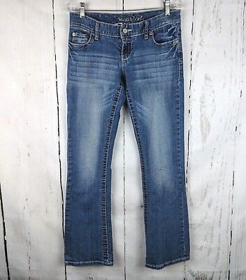 294b8db4e9b MAURICES Bootcut Jeans Stretch 3/4 Medium Wash Distressed Womens Low Rise