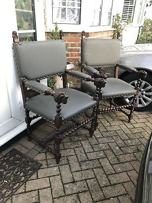 Green Man Style Vintage Oak Carver Chairs Matching Pair