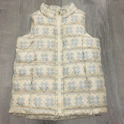 Old Navy Girls Vest Sz S Cream Blue Snowflake Frost Free Quilted Child Q76
