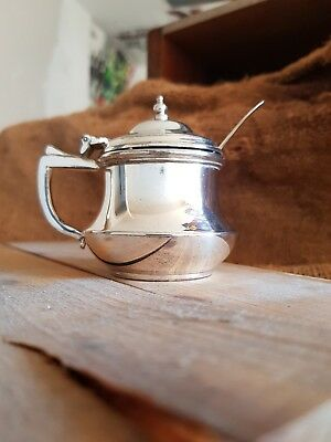 James Deakin and Sons Silver Plate Mustard Pot with Spoon