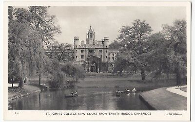 Cambridge; St Johns College New Court From Trinity Bridge RP PPC, Unposted