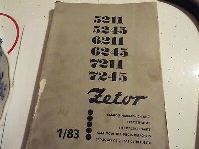 ZETOR TRACTORS MODELS 5211/5245/6211/6245/7211 And 7245 Works Manual