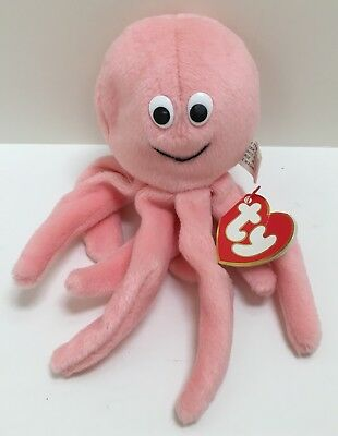 """Ty Beanie Babies """"Inky"""" Pink Octopus 3rd / 1st Generation"""