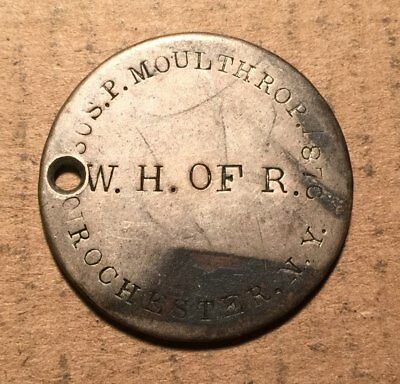 1855 1876 Rochester New York Counterstamped Token S. P. MOULTHROP Holed