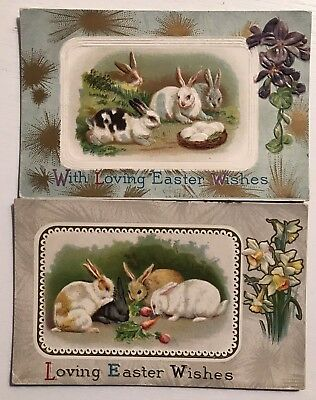 Lot of 2 Cute Bunny Rabbits with Flowers Antique Embossed Easter Postcards-a267