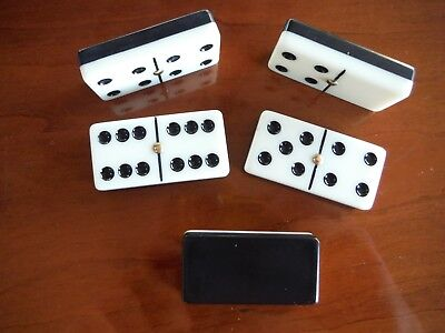 Vintage Two Tone Bakelite Dominoes Set - Black & White - Mid Century - Complete
