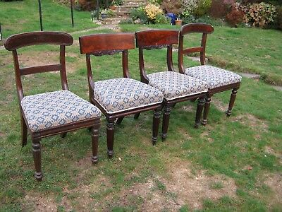 Regency Mahogany Dining Chairs - A Matched Set of 4 (2+2) - Very Heavy