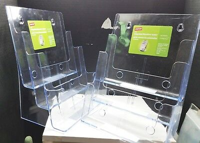 Lot Of 2 New Staples Brand Clear Plexi 3 Tier Literature Magazine Holders Racks
