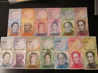 VENEZUELA  IN S. AMERICA, SET OF 2 to 100000 BOLIVARES (13), 2007/17 FROM BUNDLE