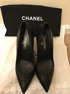 b947e66d01 CHANEL Cruise 2015 Black Leather Pearl Embellished Pointed Toe Pumps Heels