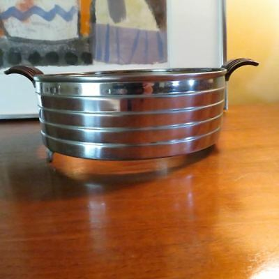 VINTAGE ART DECO CHROME &  faux BAKELITE HANDLE Casserole Dish Holder SErver
