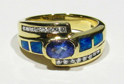 Big Vintage Signed 6.4g 14k Gold .50ct AAAA Tanzanite Opal Inlay Diamonds Ring 7