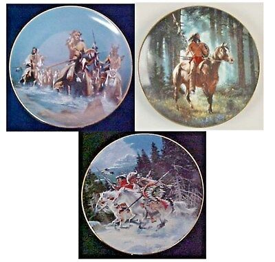 Set Of 3 Hamilton Collection Plates, All Indian Warrior Themed, Gorgeous Plates