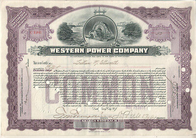 1914 stock certificate 50 shares Western Power Company New Jersey No C1986