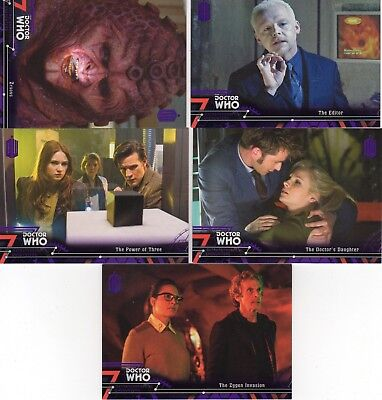 Doctor Who Topps Extraterrestrial Encounters 5 purple parallel; 32,47,80,88,97