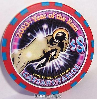 A $8 Caesars Tahoe Casino Chips Year Of The Ram 2003 $8 Chip Lake Nevada Limited