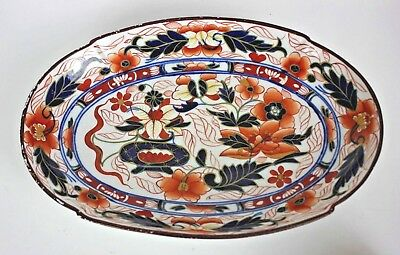 Antique Japanese Chinese Hand Painted Porcelain Imari Oval Serving Dish Plate