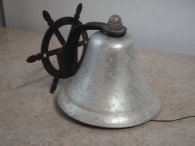 """Vintage Nautical Bell 5"""" Ship Captain's Boat Wheel Aluminum Wall Mount Low Sound"""