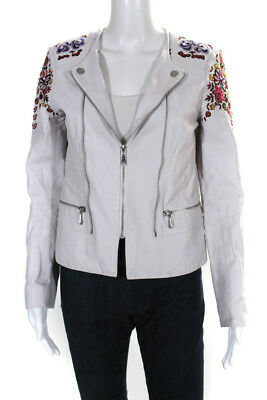 3c3db7838e1 Rebecca Minkoff Womens Jacket Beige Leather Flower Embroidered Size Extra  Small