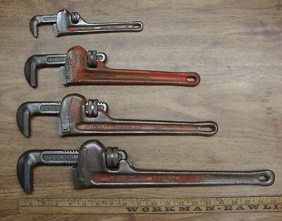 "4 Ridgid Heavy Duty Pipe Wrenches,8"",12"",14"",& 18"",Good Used Condition"