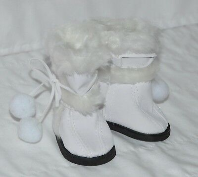 White Fur Trimmed Boots Fits American Girl Dolls