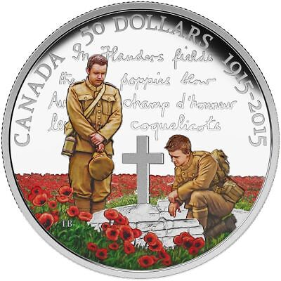 2015 Canada 100th Anniversary Flanders $50 Dollars 5 Oz. 9999 silver Color coin
