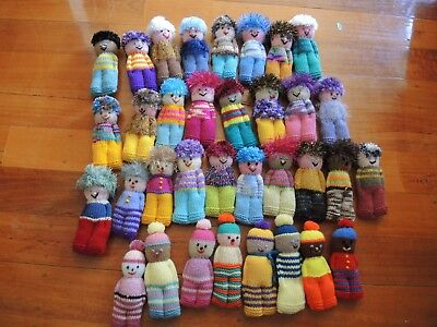 Hand knitted doll people fluffy hair soft baby toy early childhood resource