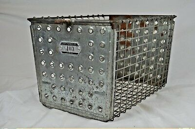 """Vintage Gym Locker Metal Wire Basket~#403~The Androck Company~13""""x9""""Great Patina"""