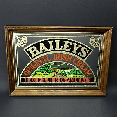 "Vintage Baileys Original Irish Cream Liqueur Wooden Framed Mirror 14"" x 20"" Nice"