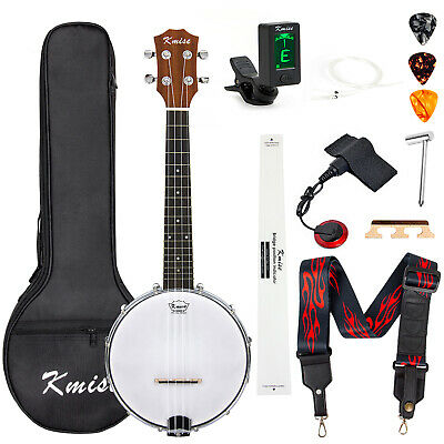 Banjolele Ukulele Concert Size 23 Inch With Bag Tuner Strap Strings Pickup Picks