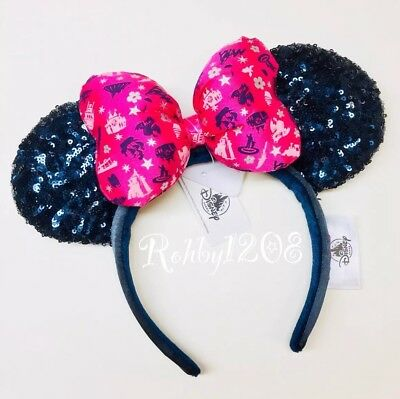 Disney Parks Navy Blue Sequins Pink 2019 Attraction Icons Minnie Ears Headband
