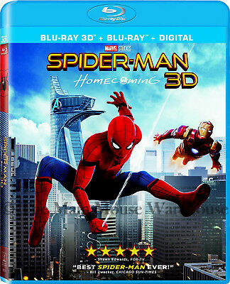 Authentic Marvel MCU Spider-Man Homecoming Holland 3D Blu-ray Digital Copy Code