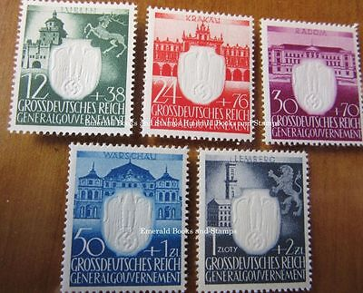 EBS Generalgouvernement 1943 3rd Anniversary Nazi Party set Michel 105-109 MNH**