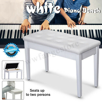 Luxury Adjustable Piano Keyboard Bench Stool PU Leather Long Seat Chair White