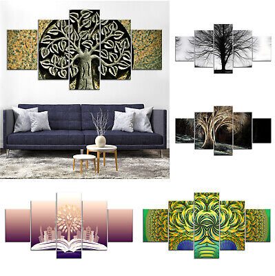 Tree of Life Abstract Canvas Print Painting Framed Home Decor Wall Art Poster 5P