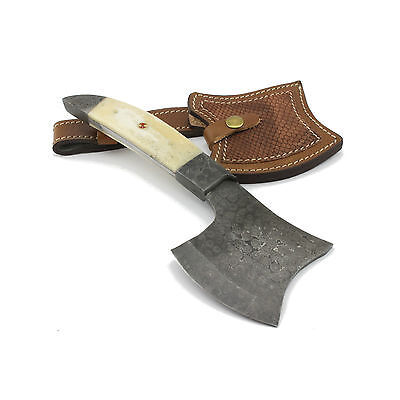 Handmade Tomahawk/Axe, Damascus Blade, Camel Bone Handle, Leather Sheath.