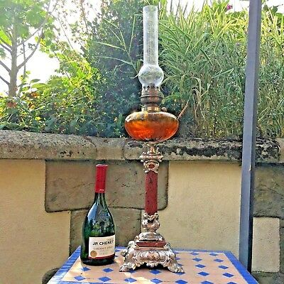 Oil Lamp Pewter Style Coloured Orange / Brown Glass  French Paraffin 74 Cm High