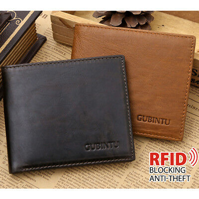 Men's Brown Leather RFID Blocking Wallet Anti-Scan Credit Card Blocking OZ Stock