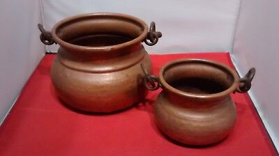 2x Vintage Hammered Copper Hanging Cauldron Pot Planter