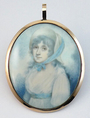 c1790, FINE ANTIQUE GEORGIAN PORTRAIT MINIATURE OF A LADY, HAIR BACK, GOLD FRAME