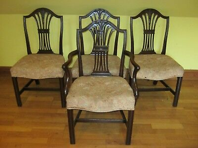 GREAT  SET OF 4  FOUR GEORGE III Circa 1820 DINING CHAIRS INC 1 CARVER