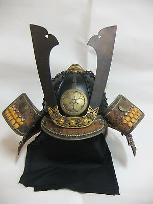 Japanese Samurai Kabuto Helmet 'Katabami' Oxalis Wearable Showa Antique