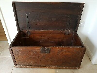 Antique Late 16th Early 17th Century Wooden Coffer Chest Cassone 1590s