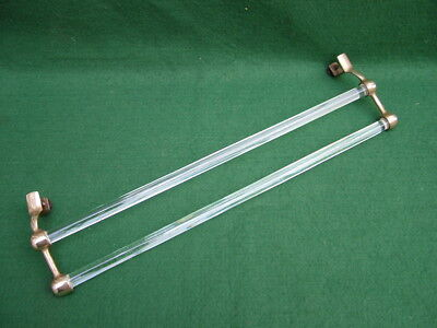 Antique French Art Deco Double Glass Rod Brass Mounted Towel Bar Rack Bathroom