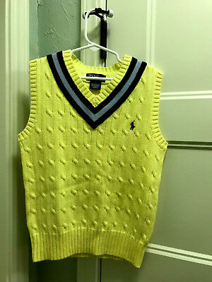 Ralph Lauren POLO Vest Boys Sz 7 Yellow Cable w/Bue &Gray Stripes VGUC Navy Logo