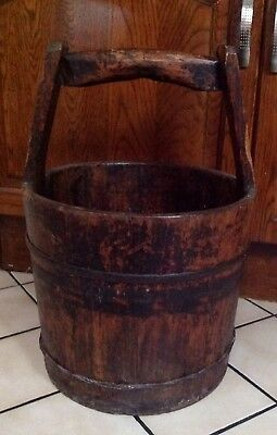 Georgian C1800, Coopered Wood Water / Well Bucket With Handle Vgc